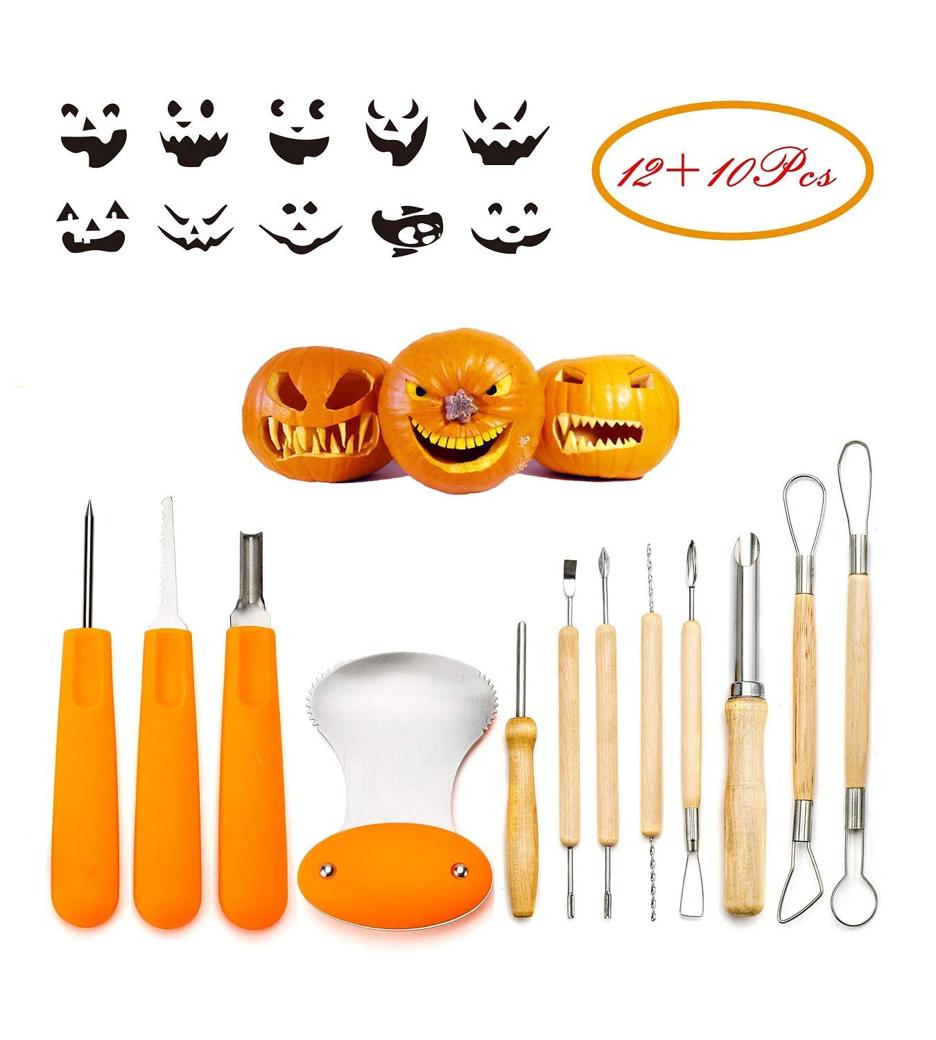 Professional Pumpkin Carving Tool Kit-Includes 12 Carving Tools And 10 Carving Stencils, Heavy Duty Stainless Steel Tool Set, Used As a Carving Knife For Pumpkin Halloween Decoration
