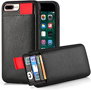 "iPhone 7 Plus Wallet Case, iPhone 8 Plus Wallet Case, LAMEEKU Protective iPhone 8 Plus Card Holder Case with Credit Card Slot, Leather Cover for Apple iPhone 7 Plus/ 8 Plus 5.5"" Black"