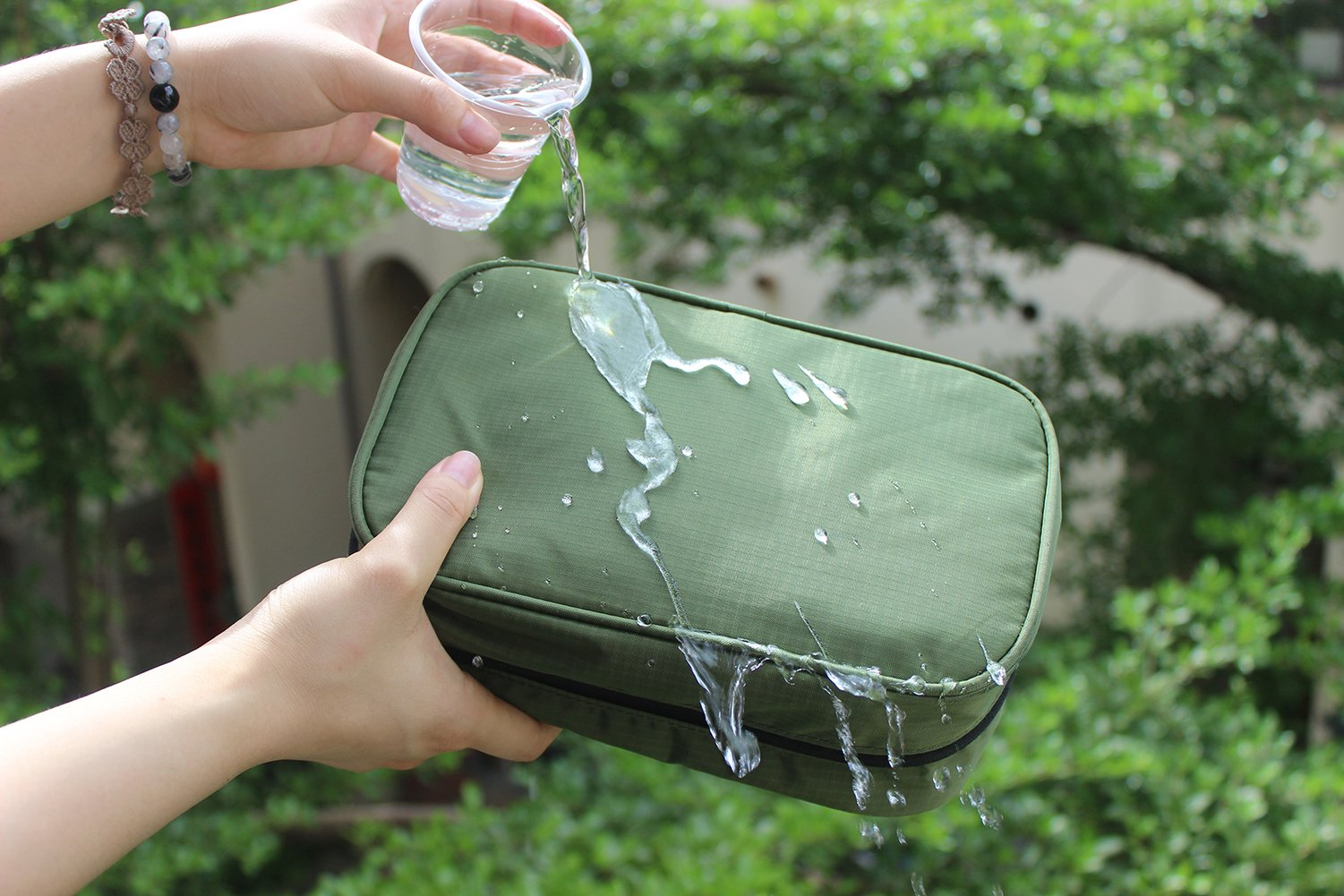 Dopobo Travelling Toiletry Bag Portable Hanging Water-Resistant Wash Bag for Travelling, Business Trip, Camping (army green) by Dopobo (Image #5)