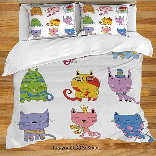 Juego de funda nórdica para cama de gato, lindos gatitos ...