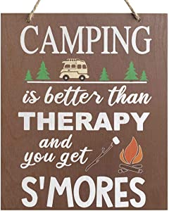 JennyGems | Camping is Better Than Therapy and You Get SMores | Wood Sign | Camping Gifts | Camping Decor | Made in USA