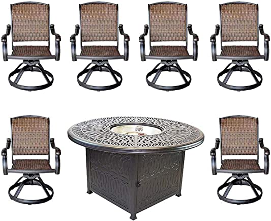 Cast Aluminum Elisabeth 7pc Outdoor Set 52″ Round Fire Pit Dining Patio Table 6 Santa Clara Swivel Chair