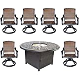 "Cast Aluminum Elisabeth 7pc Outdoor Set 52"" Round Fire Pit Dining Patio Table 6 Santa Clara Swivel Chairs"