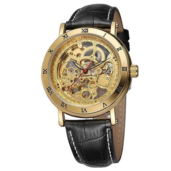FORSINING - Reloj de Pulsera analógico de Piel para Hombre, diseño de Esqueleto automático, Color Negro: Amazon.es: Relojes