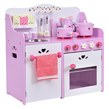 1b9d30ef225b Amazon.com: Costzon Kids Kitchen Playset, Wooden Cookware Pretend Cooking  Food Set Toddler Gift Toy (24.4