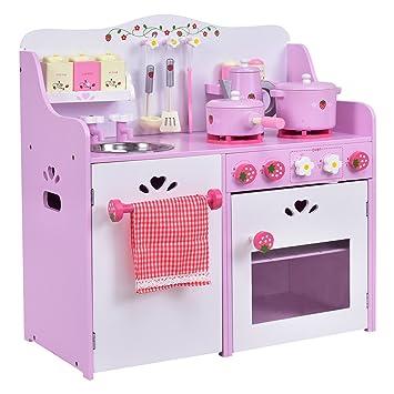 Amazon.com: OHO Kids Wooden Pink+ White Play Set Kitchen Toy ...