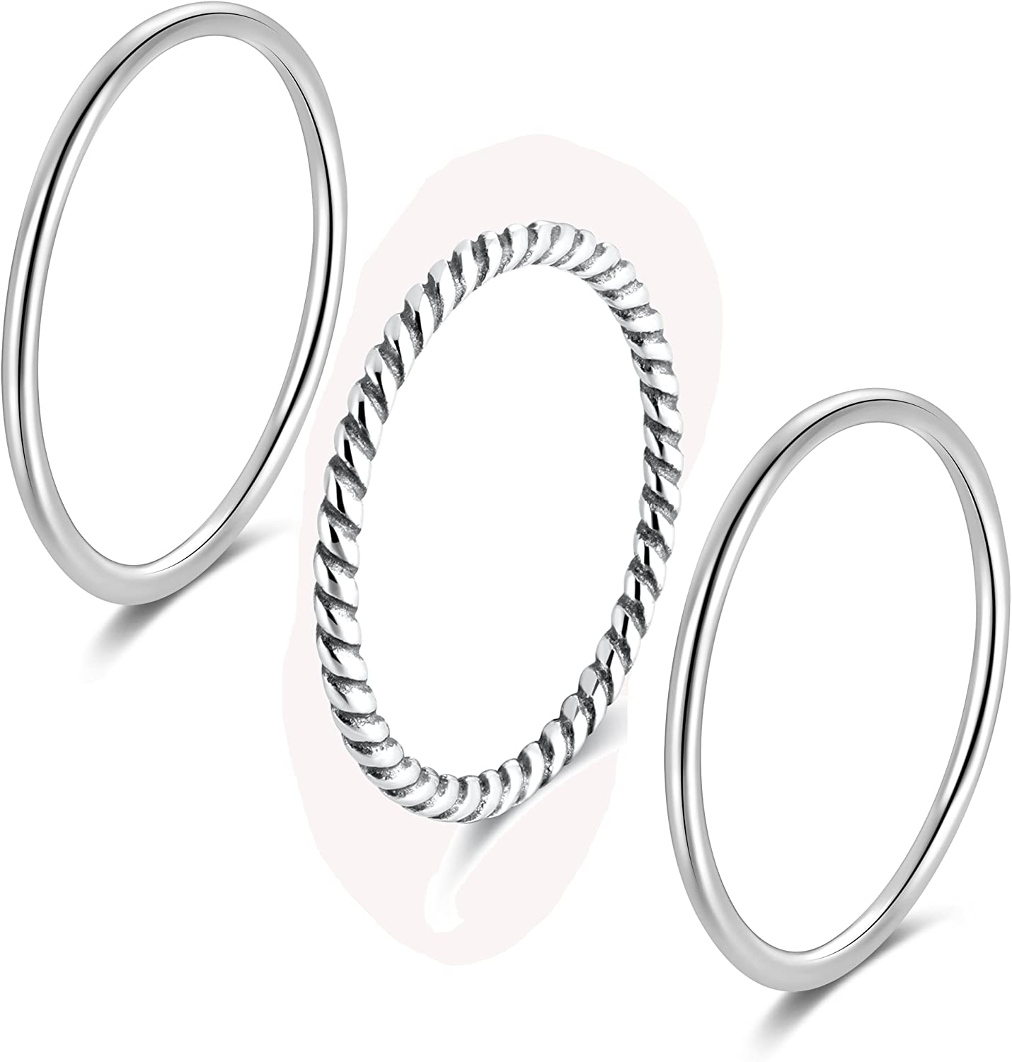 SILBERTALE 925 Sterling Silver Stacking Minimalist Midi Above Knuckle Pinky Finger Rings Bands 3pcs Set
