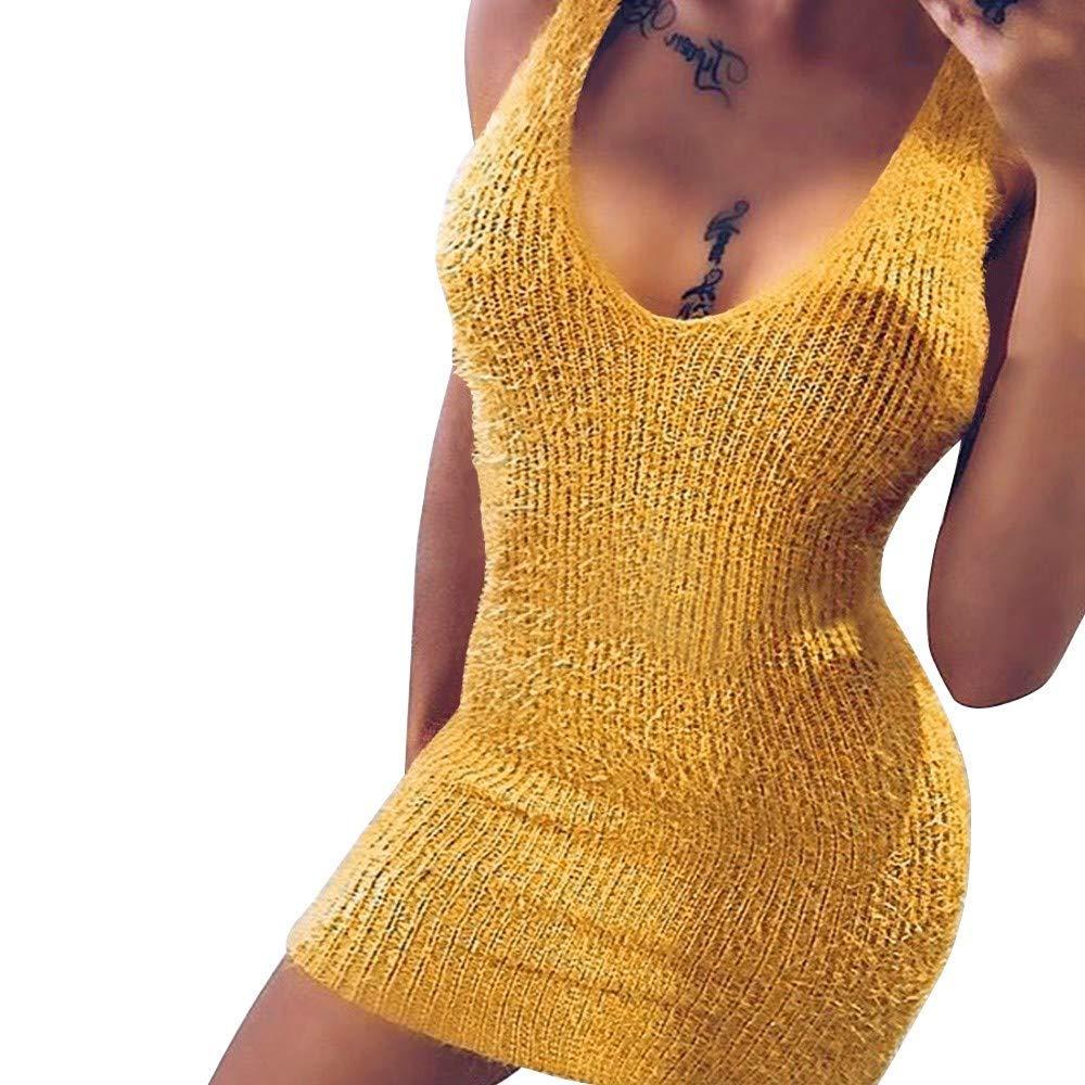 AMSKY White Maxi Dress,Women Sleeveless O-Neck Halter Dress Sexy Mini Knitting Fashion Dress,Suiting & Blazers,Yellow,XL