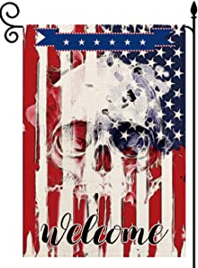 YaoChong American Welcome Halloween Skull Garden Flag Vertical Double Sided Patriotic Flag 12.5 x 18 Inch, US Small Flag House Yard Lawn Decor
