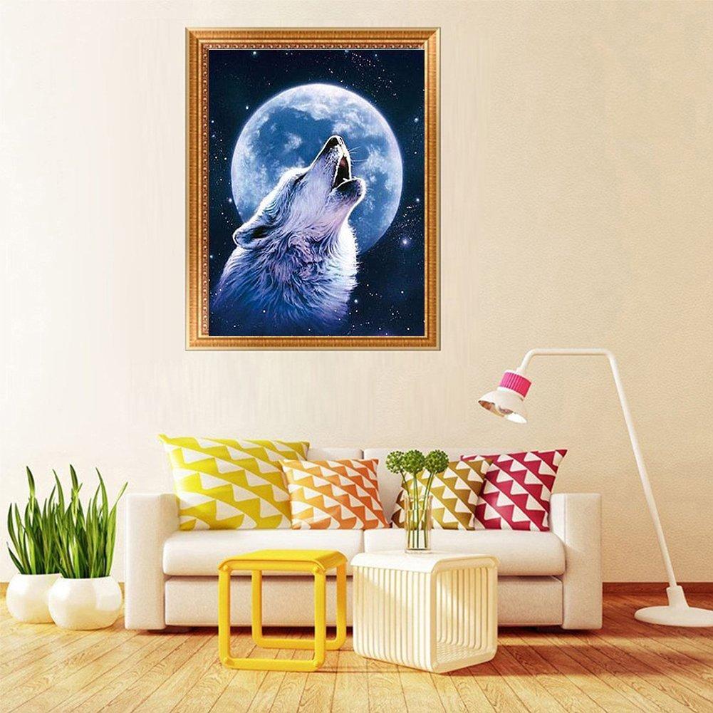 Los lobos(12x18inchch//30x45CM) Orsit 5D Pintura de bricolaje Juego de herramientas de pintura de bricolaje Artesan/ía Inicio Decoraci/ón de pared
