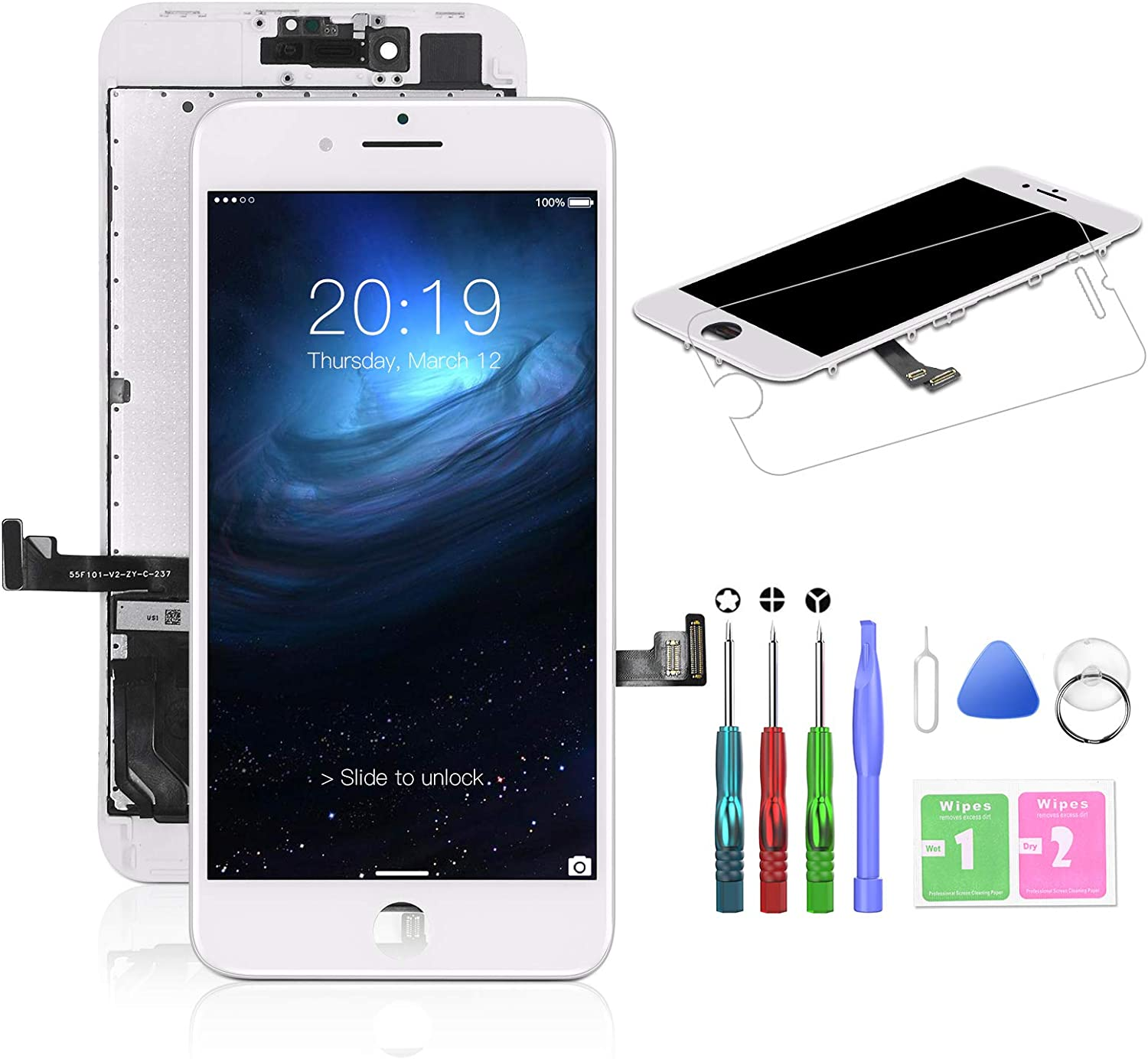 HTECHY Compatible with iPhone 8 Plus Screen Replacement White- Compatible for iPhone 8 Plus Touch Screen Display Assembly with Complete Repair Tools Kit + Screen Protector(5.5 Inch)