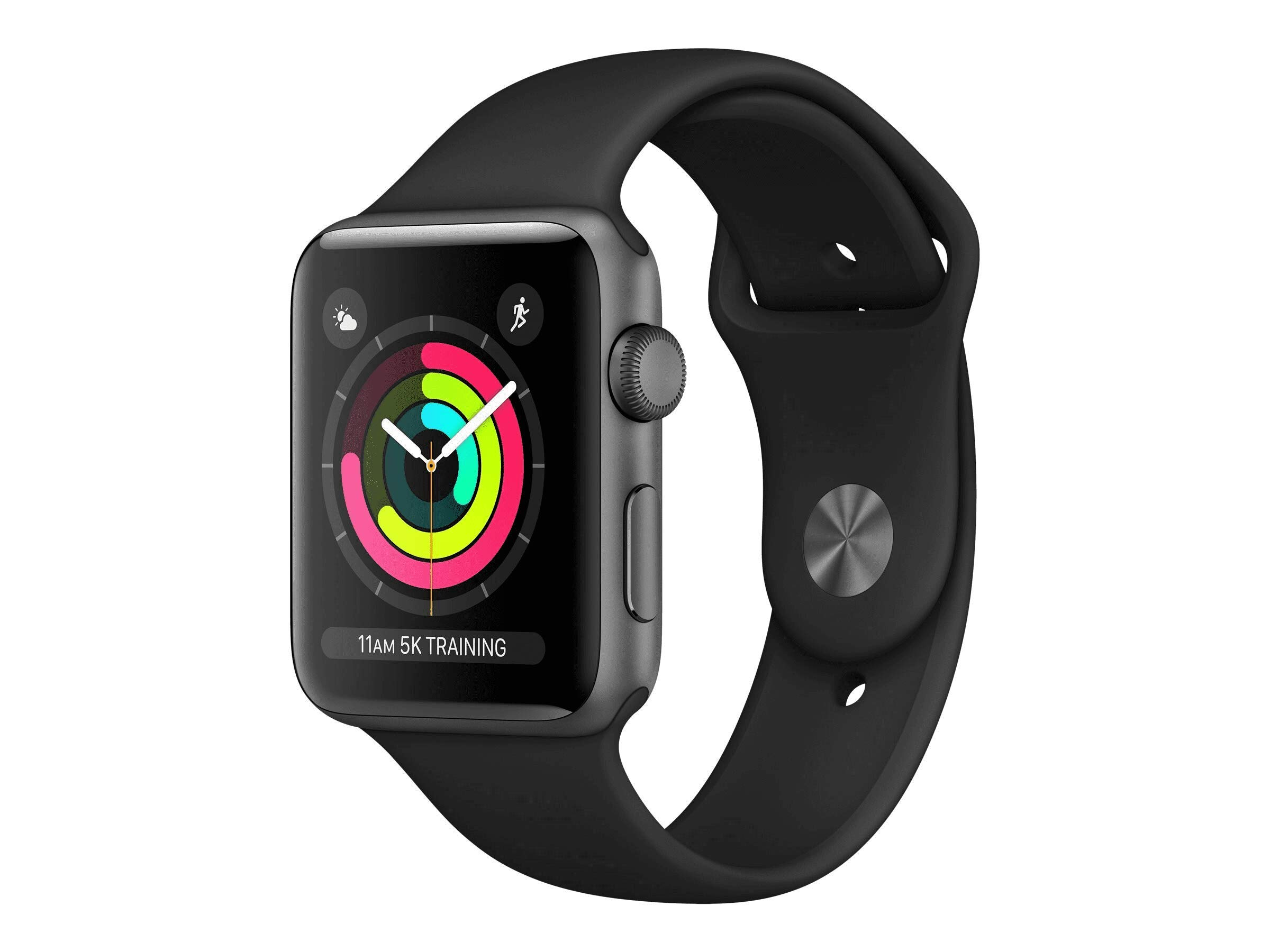 Apple Watch Series 3 (GPS), 38mm Space Gray Aluminum Case with Black Sport Band - MQKV2LL/A (Renewed) by Apple