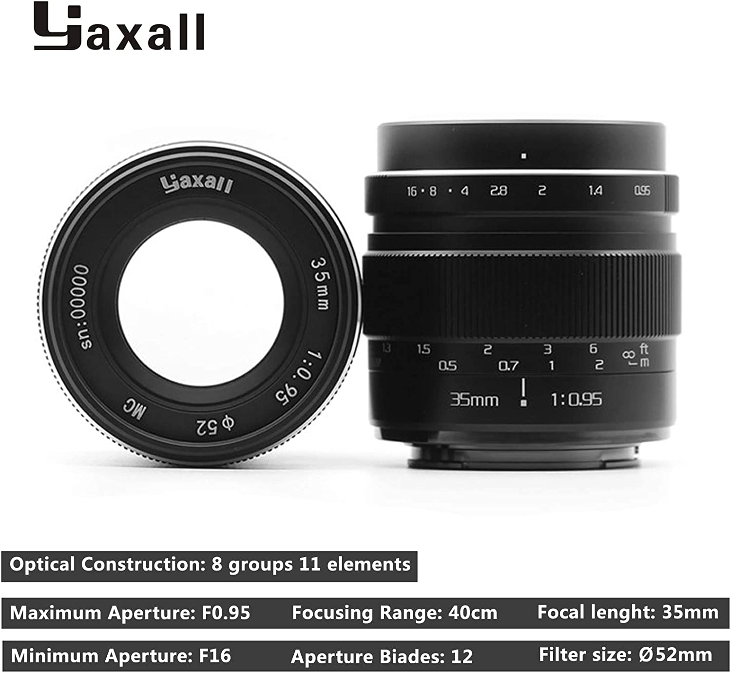 Yaxall 35mm f//0.95 Large Aperture Manual Focus APS-C Fixed Lens for Olypums Panasonic Micro 4//3 Mount Mirrorless Cameras