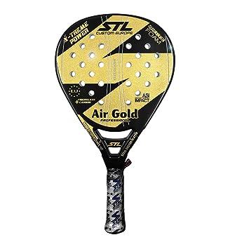 Steel Custom Europe Air Gold-16 Pala de pádel de Tenis, Unisex Adulto, Negro/Dorado, 380-385 g: Amazon.es: Deportes y aire libre