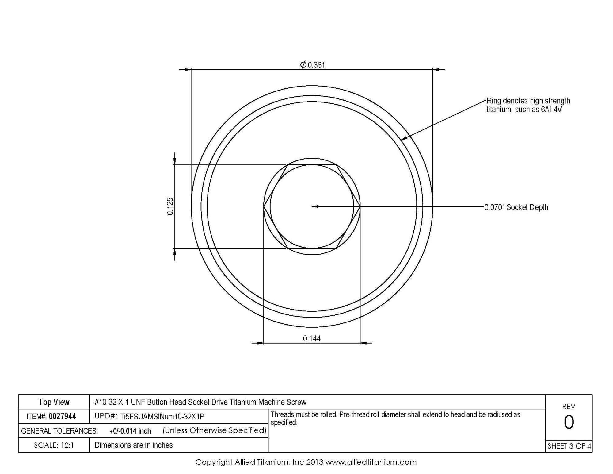 Allied Titanium 0027944, (Pack of 10) #10-32 X 1 UNF Button Head Socket Drive Machine Screw, Grade 5 (Ti-6Al-4V) by Allied Titanium (Image #5)