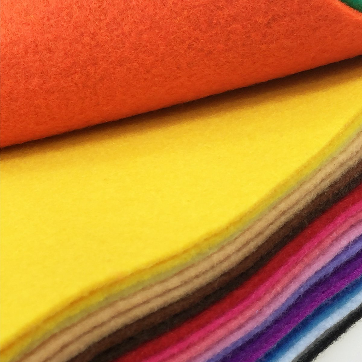 flic-flac 28pcs Thick 1.4mm Soft Felt Fabric Sheet Assorted Color Felt Pack DIY Craft Sewing Squares Nonwoven Patchwork 15 X 15 cm