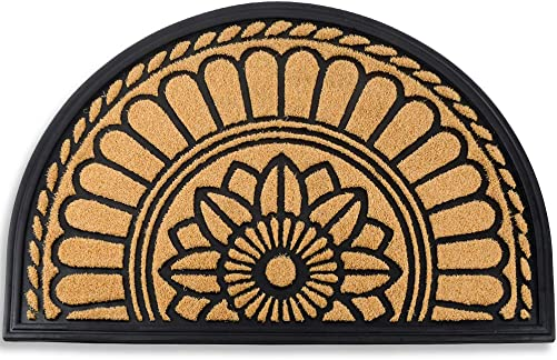 Mibao Half Round Door Mat, Non-Slip Welcome Entrance Way Rug, Durable Rubber Door Mats, Low-Profile Heavy Duty Doormat, Half Circle Rugs for Garage, Patio, High Traffic Areas, 24 x 36 , Yellow