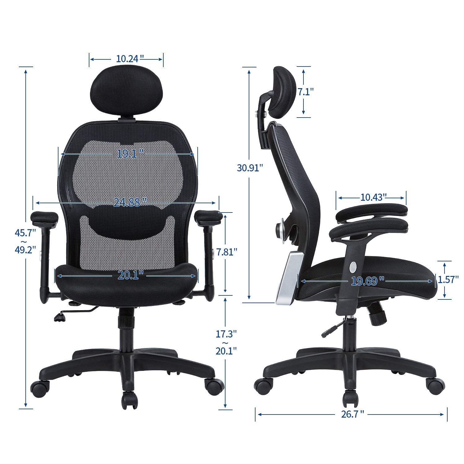 LIANFENG Ergonomic Office Chair, High Back Executive Swivel Computer Desk Chair with Adjustable Armrests and Headrest, Back Lumbar Support, Black by LIANFENG (Image #6)