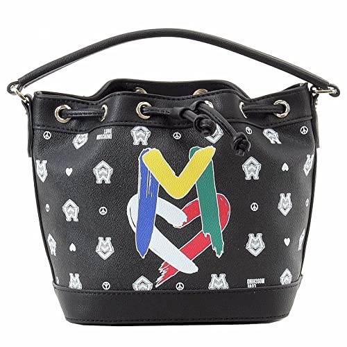 b190a2e2c Image Unavailable. Image not available for. Color: Love Moschino Women's  Black/White Logo Bucket Satchel Handbag