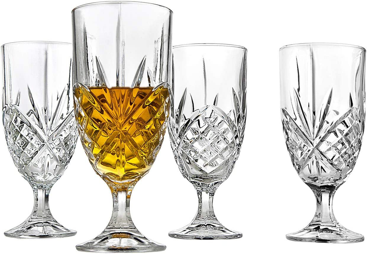 Crystal Glass Water Goblets, 16 Ounce Elegant Crystal Glasses for Water, Juice, Beer, Wine, and Cocktails, Iced Beverage Glassware – Set of 4