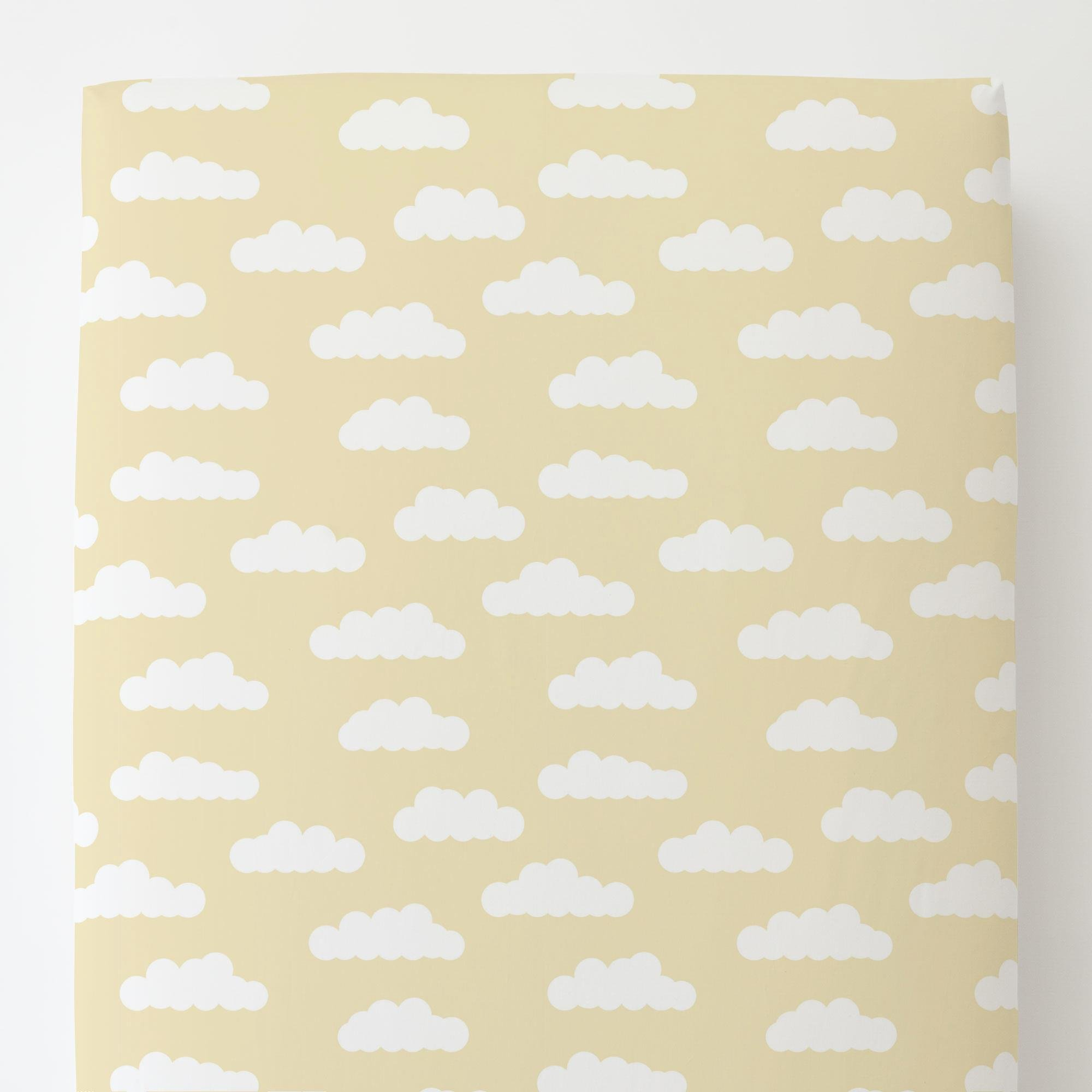 Carousel Designs Pale Yellow and White Clouds Toddler Bed Sheet Fitted