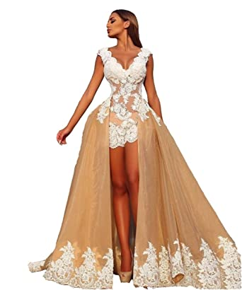 Lazacos womens sexy v neck lace applique open back champagne lazacos womens sexy v neck lace applique open back champagne detachable wedding dress us2 junglespirit Images