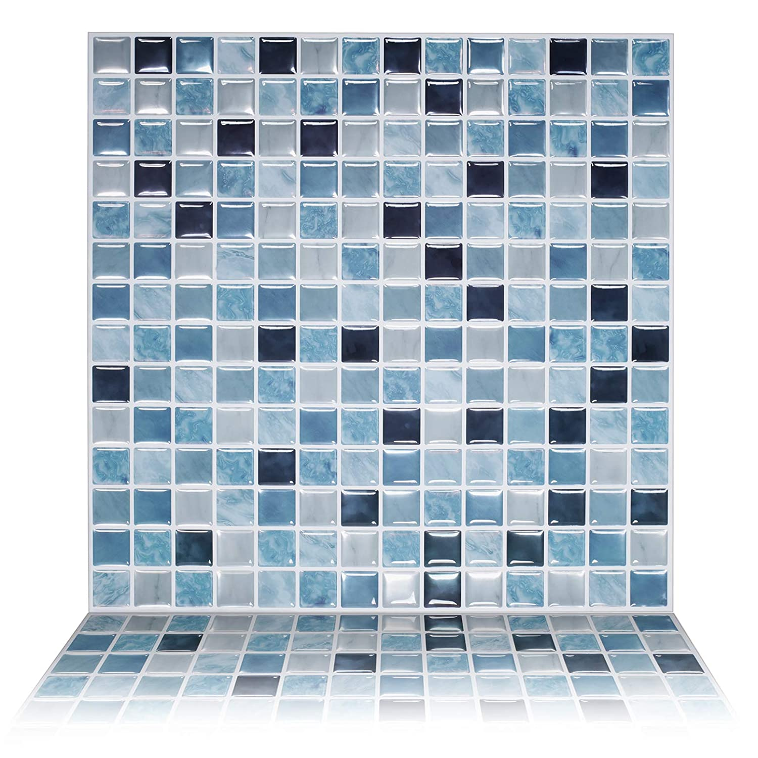 """Tic Tac Tiles 10-Sheet 12"""" x 12"""" Peel and Stick Self Adhesive Removable Stick On Kitchen Backsplash Bathroom 3D Wall Sticker Wallpaper Tiles in Square Sea Breeze"""