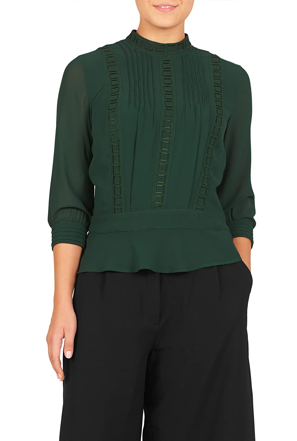 Edwardian Style Blouses Geo embellished chiffon peplum top $48.95 AT vintagedancer.com