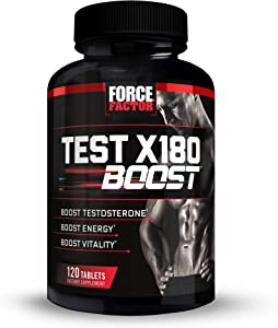 Test X180 Boost, Energy and Vitality Maximizing Testosterone Booster for Men with D-Aspartic Acid (DAA), Tribulus, Fenugreek, Black Maca, Force Factor, 120 Tablets