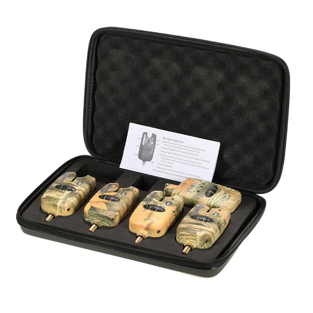 Lixada Alarma de Pesca Inalámbrico LED 3/4 Alarmas de Mordida de Pesca + 1 Receptor con Caja