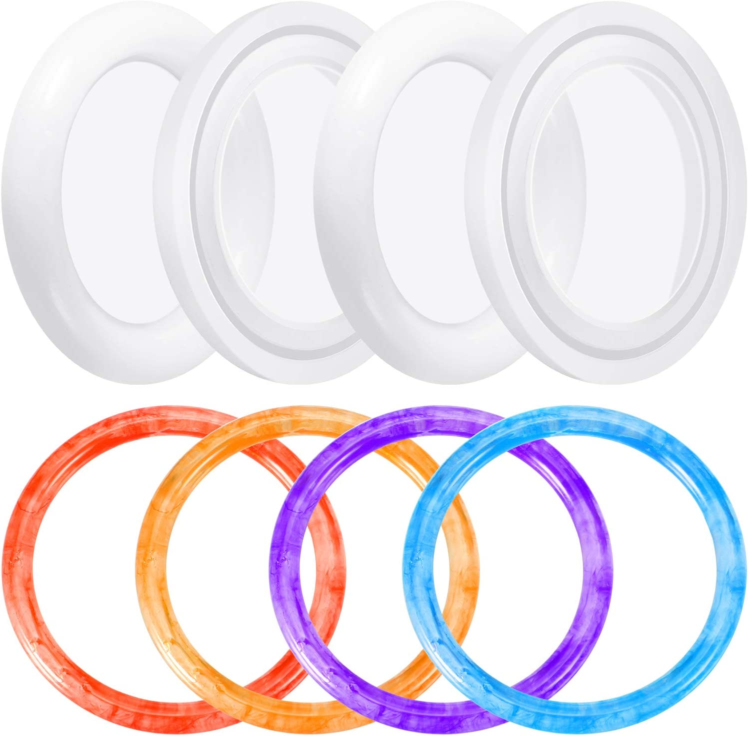 5Pack 60MM Round Bracelet Silicone Mould Key Chain Crystal Epoxy Ring Mold for DIY Resin Bangle Bracelet Jewelry