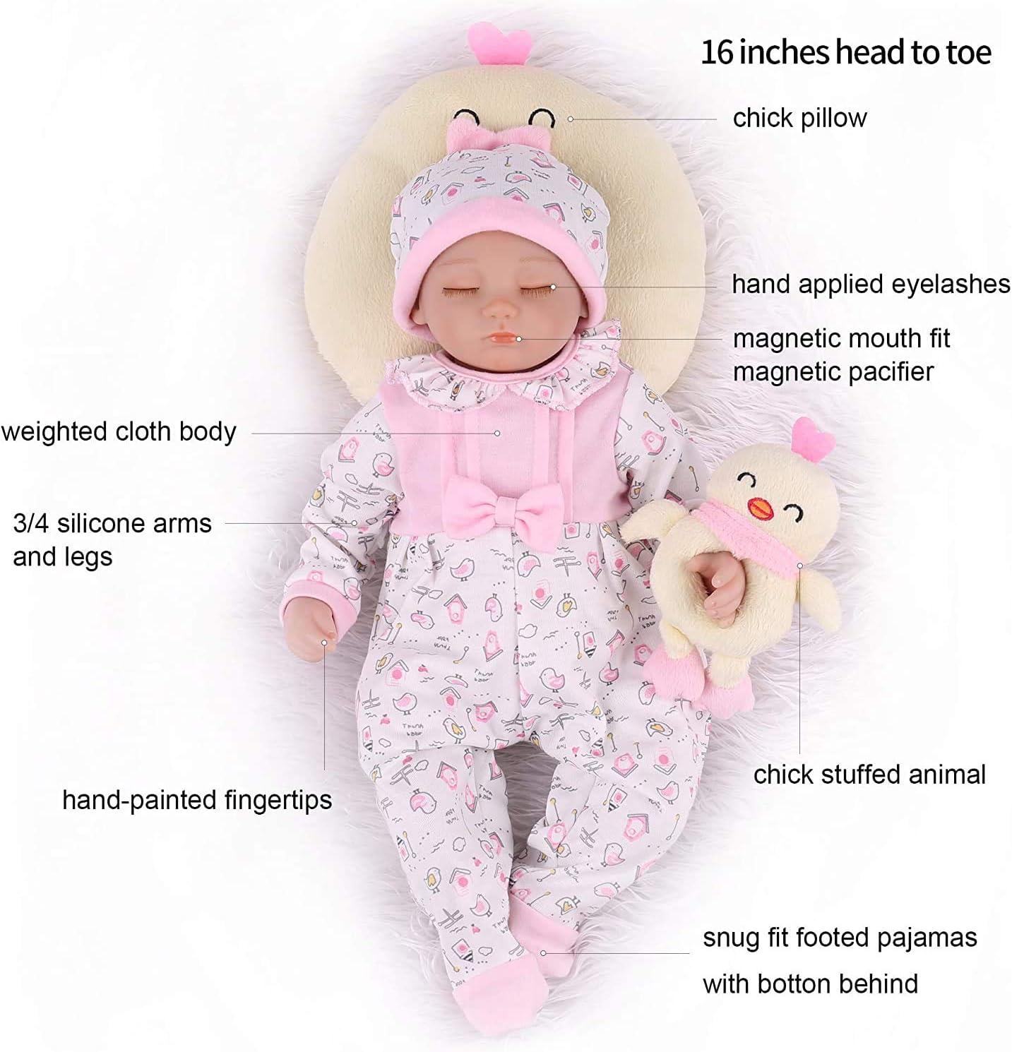 Kaydora Reborn Baby Dolls 16inch Sleeping Realistic Baby Reborn Dolls That Look Real Handmade Soft Vinyl Weighted Body Lifelike Baby Dolls for Girl Age 3+