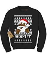 Expression Tees Believe It! Black Santa Clause Ugly Christmas Crewneck Sweatshirt