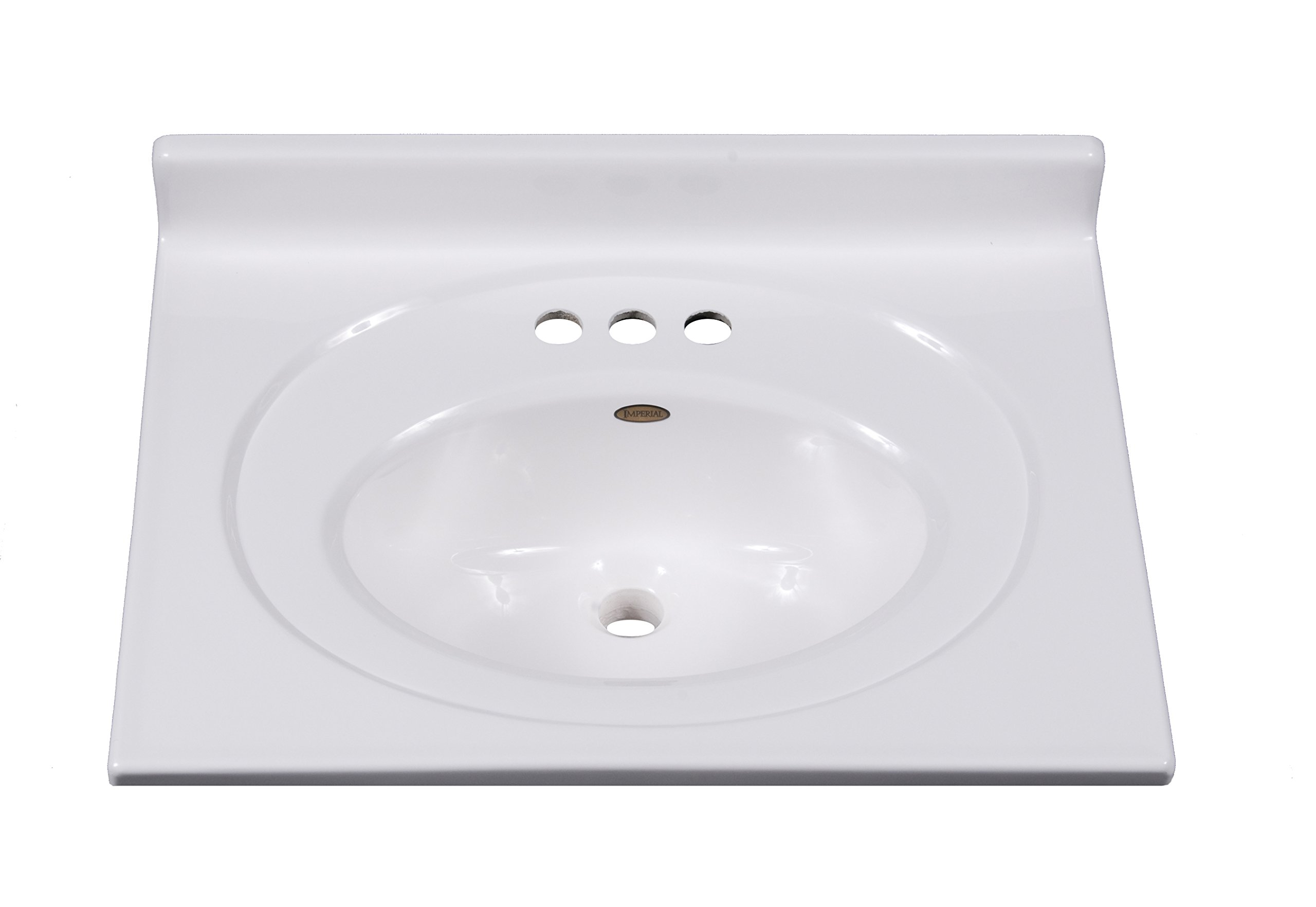 Imperial FS2519SPW Bathroom Vanity Top with Recessed Center Oval Bowl, Solid White Gloss Finish, 25-Inch Wide by 19-Inch Deep