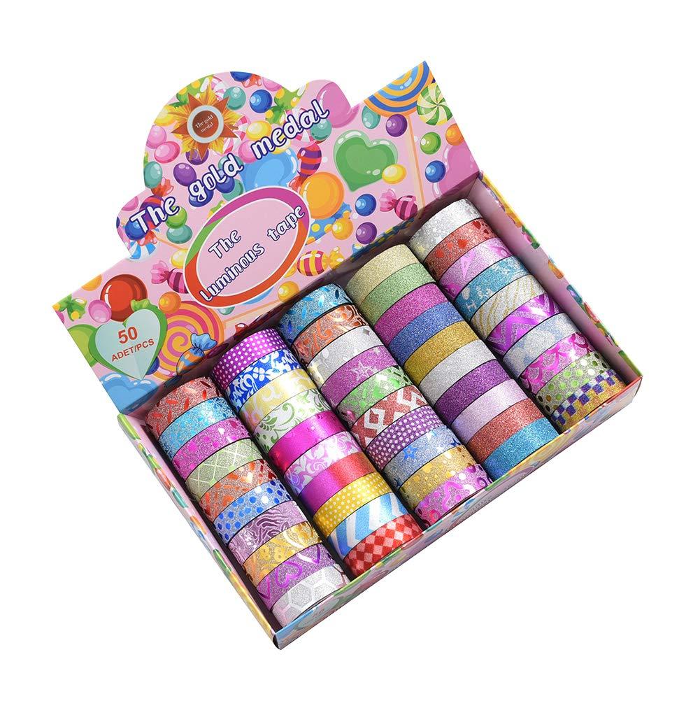 50 rolls cintas adhesivas con glitter (3m largo cada  (G3GT)