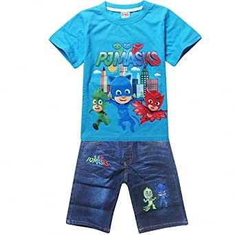 Owone Box Girls PJ Masks Short Sleeve T-shirt + Denim Shorts 2psc Sets Outfits
