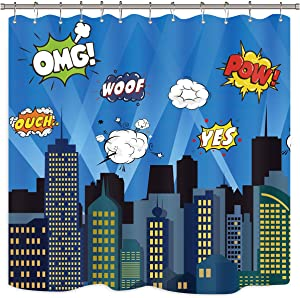 Riyidecor Superhero Shower Curtain Panel Buildings Cityscape City Cartoon Skyline Decor Fabric Polyester Waterproof 72x72 Inch Include 12 Pack Plastic Hooks