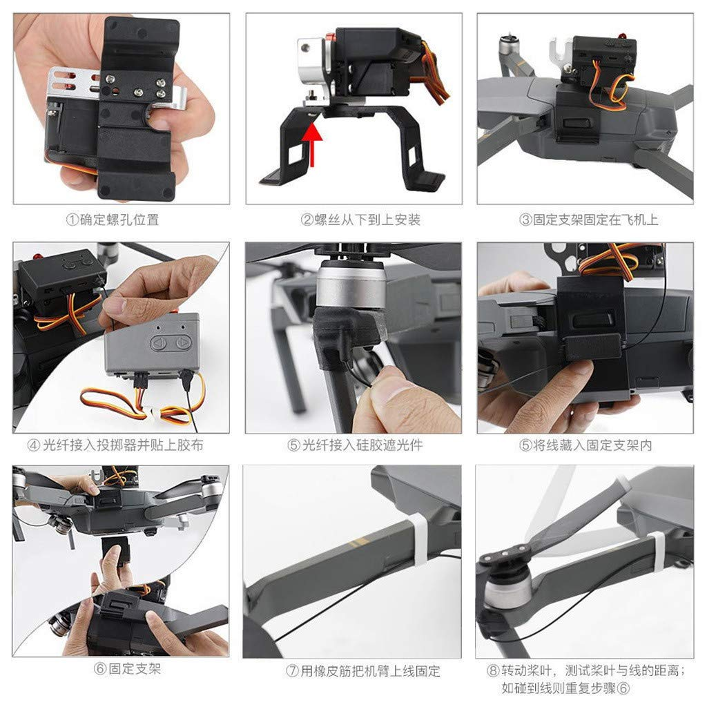 LONGZUYS Mavic Pro Drop Device Kit, Compatible Mavic Pro Upgrade Drone Clip Payload Delivery Drop Transport Device for DJI (Gray) by LONGZUYS (Image #6)