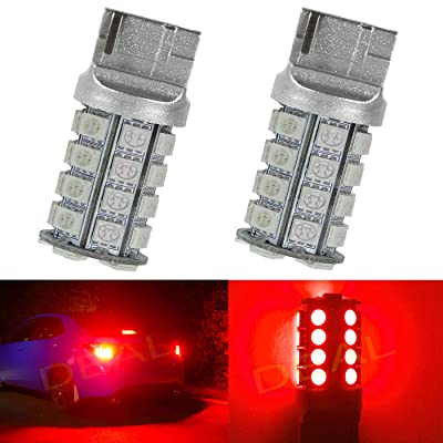 DEAL 2pcs 7443 Super Bright Red DC 12V 30-SMD LED Bulbs For Front Rear Turn Signal/Parking/Driving/Side Marker/Stop/Brake Tail Light Lamp Double Filament: Automotive
