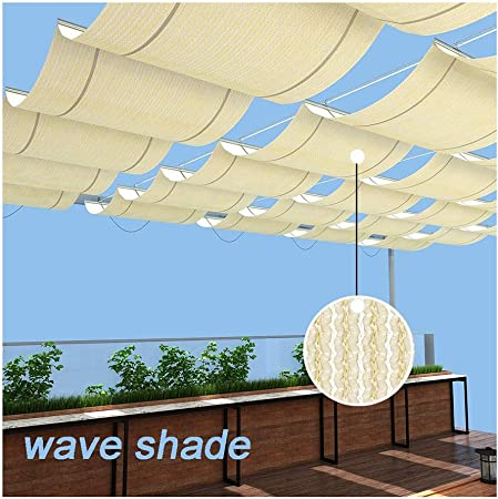 GDMING Vela De Sombra Retráctil Ola Pabellón Toldo Protector Solar Respirable Reemplazo Cubierta De Pérgola para Terraza Porche Restaurante Café Tamaño Personalizado Poliéster: Amazon.es: Hogar