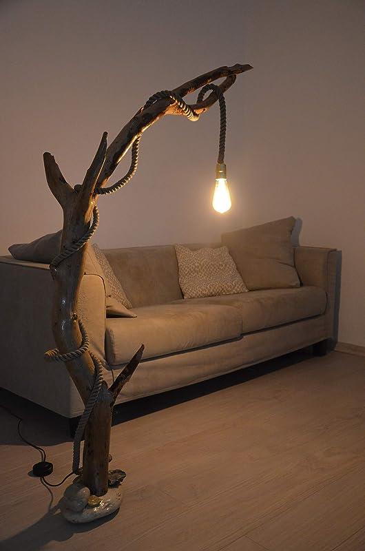 Lámpara de pie en madera a la deriva natural con tronco de ...