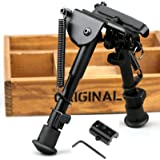 X-Aegis 2 in 1 Rifle Bipod 6 Inch to 9Inch Spring Return Sniper Hunting Rifle Bipod Sling Swivel Mount Adjustable Height Rail Mount Adapter Included