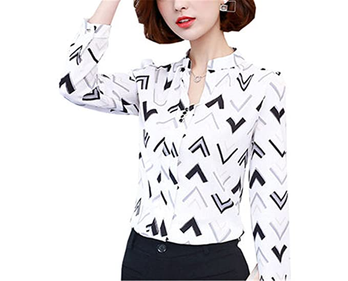Chiffoned New Spring Autumn Long Sleeve Blouse Shirt Women Flower Striped Plaid Printed Chiffon Tops Female