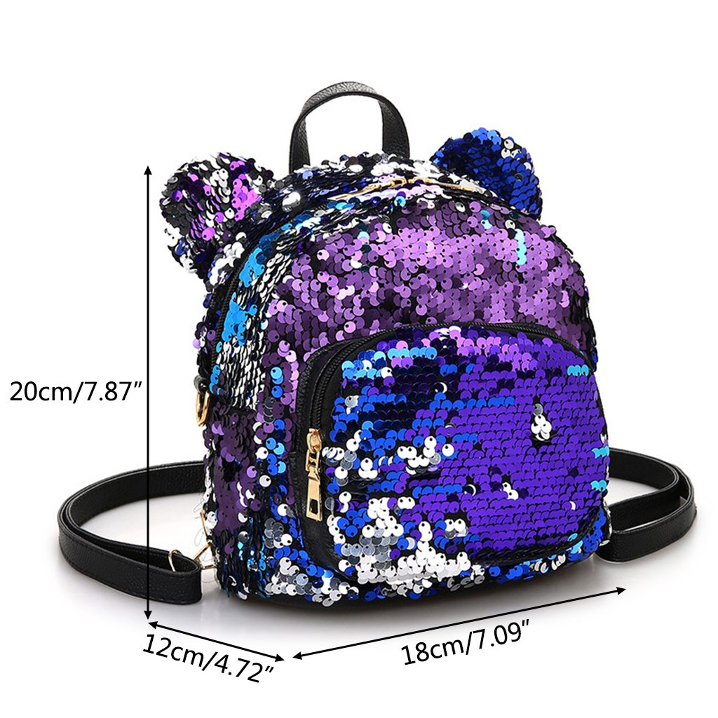 Amazon.com : Cicitop Mini Backpack Purse for Women Girl, Leather Backpack Travel Shoulder Bag with Shinning Sequins (Black) : Sports & Outdoors