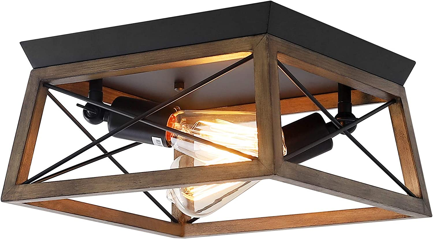 2-Light Farmhouse Flush Mount Ceiling Light, Square Farmhouse Light Fixtures, Rustic Industrial Ceiling Fixture with Wood Shade for Hallway, Entryway, Passway, Dining Room, Living Room
