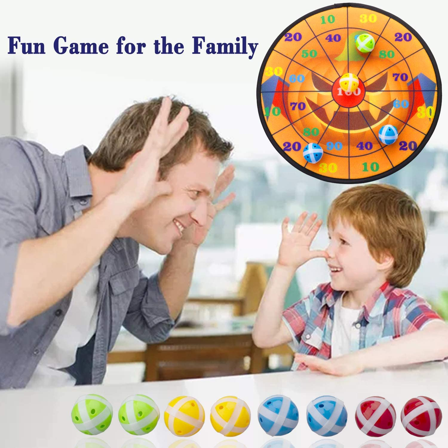 Kyerivs Dart Board Game Set for Kids Halloween Theme Dartboard with Hook and 8 Sticky Balls Family Fun Best Toy Gift for Boys and Girls Indoor Outdoor Interactive Games Diameter 14 Inch : Sports & Outdoors