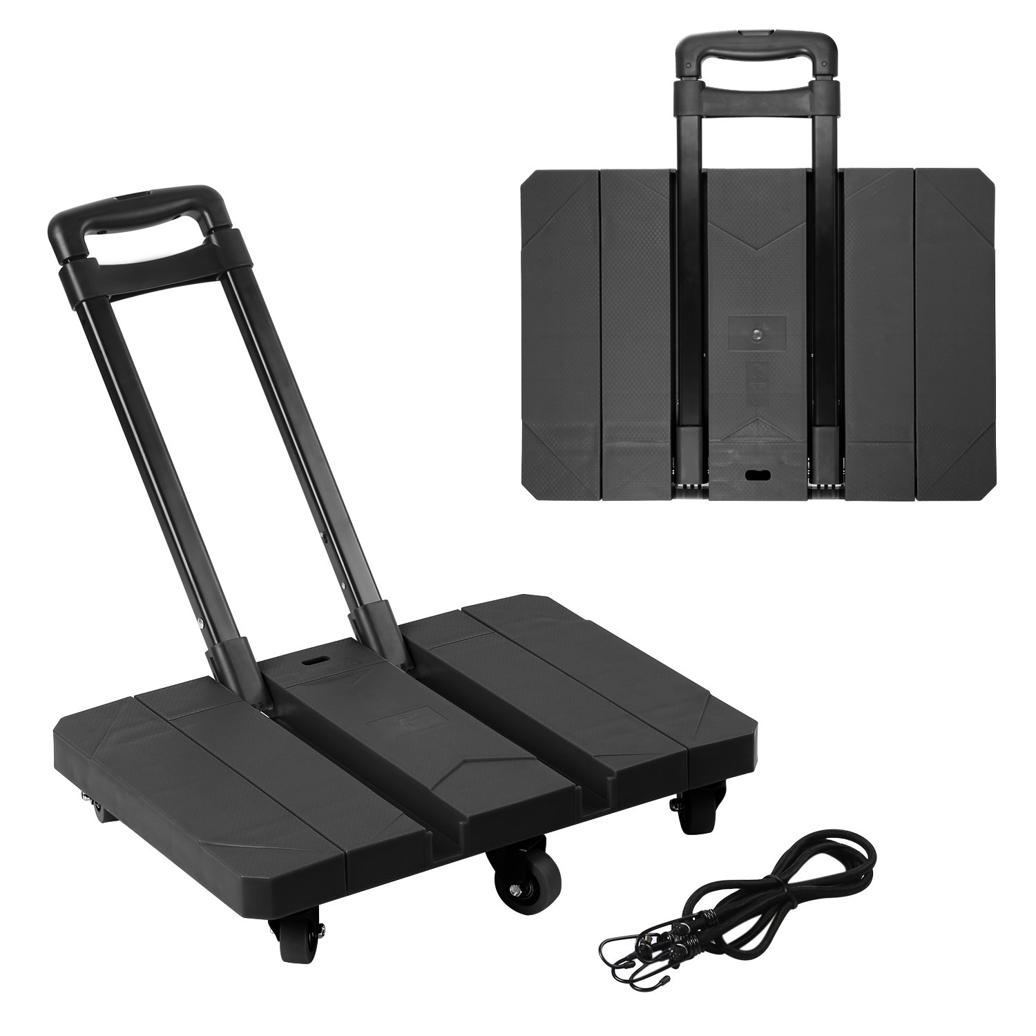 Foldable 6 Wheels Hand Trolley, Extendable Flat Luggage Cart Hand Trolley with 3-fold Handle & 2 Supports Strips (Extendable Black)