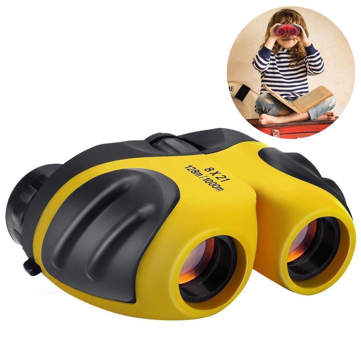 Happyギフトコンパクト耐衝撃8 x 21 Kids binoculars- Best Gifts For Boys And Girls B0797TKK4P  イエロー