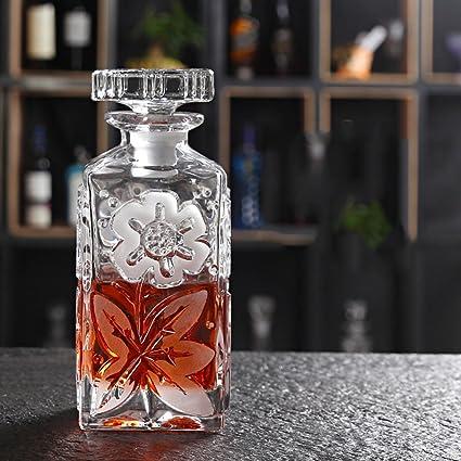 L&J Decantadores de cristal sin plomo con las tapas para el whisky,Vino,Licor