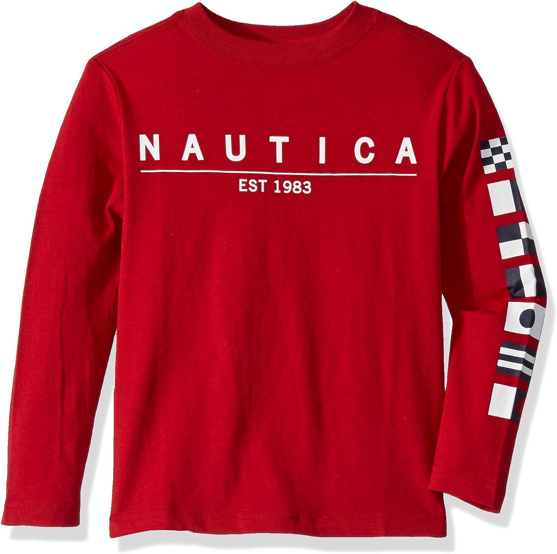 Nautica Boys Long Sleeve Logo Graphic Tee